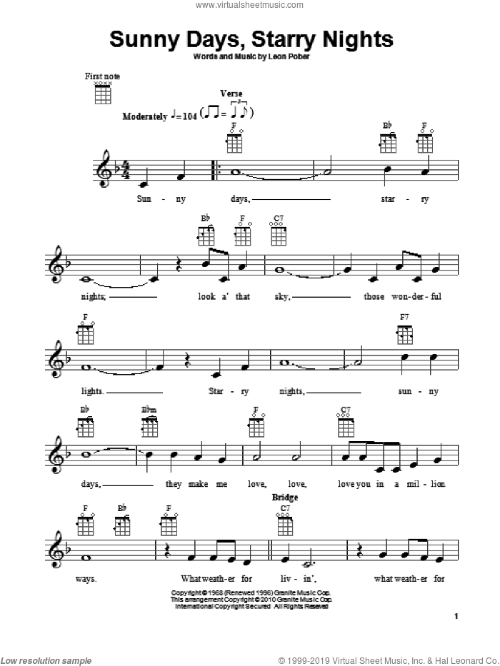 Sunny Days, Starry Nights sheet music for ukulele by Leon Pober. Score Image Preview.