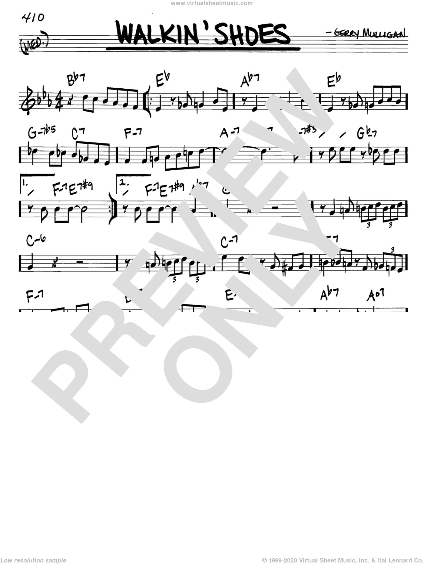 Walkin' Shoes sheet music for voice and other instruments (in C) by Gerry Mulligan, intermediate. Score Image Preview.