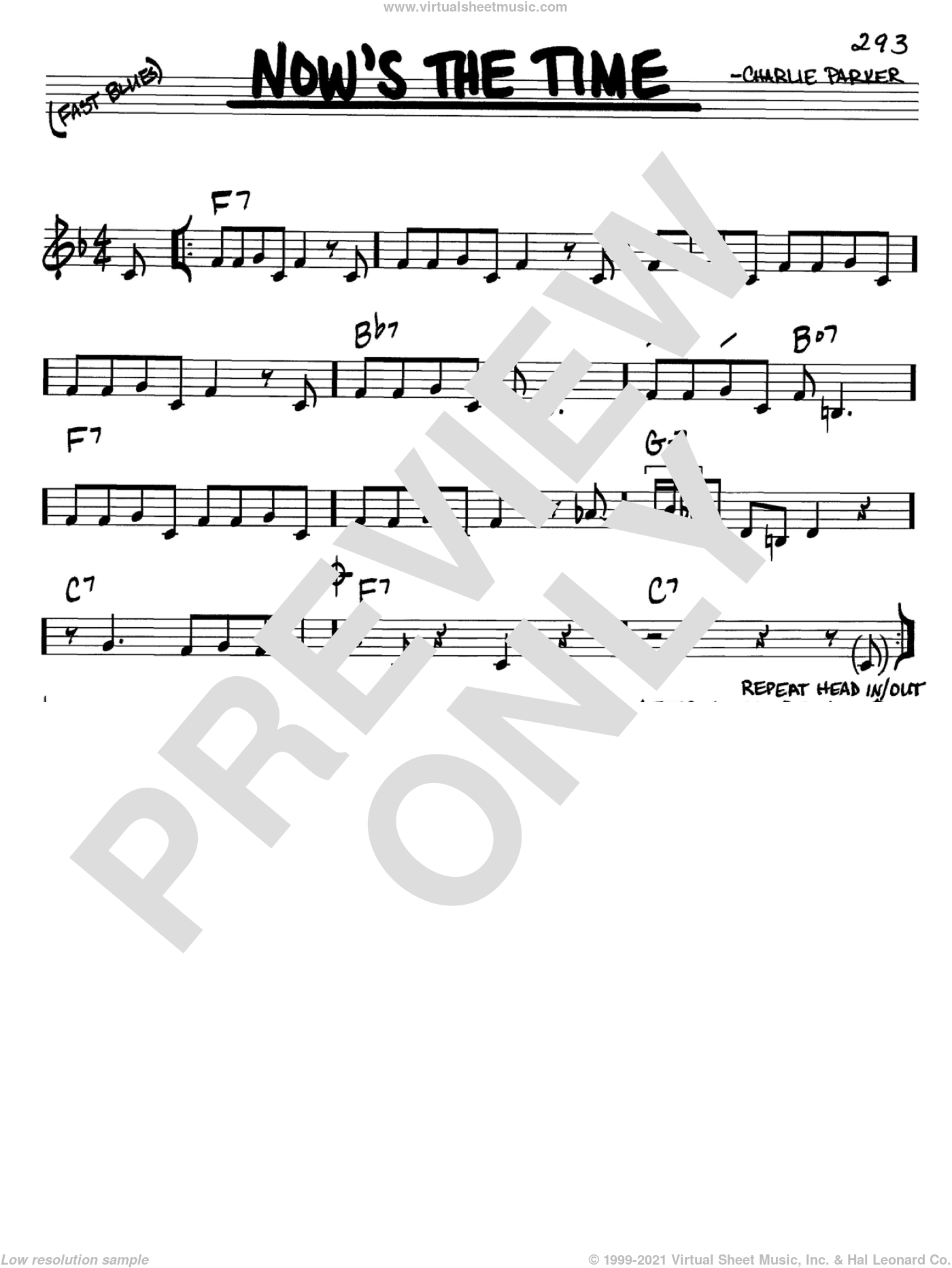 Now's The Time sheet music for voice and other instruments (C) by Charlie Parker. Score Image Preview.