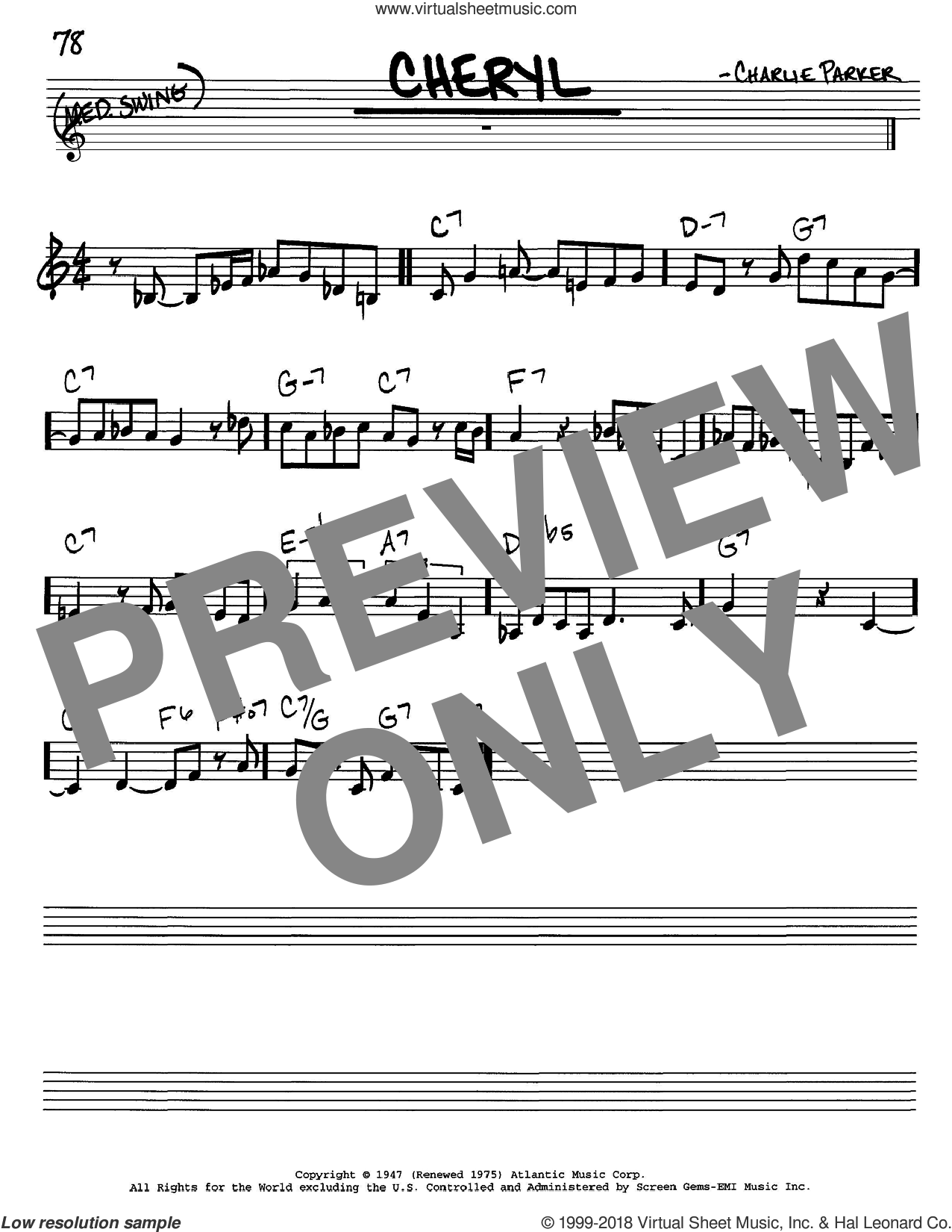 Cheryl sheet music for voice and other instruments (C) by Charlie Parker, intermediate voice. Score Image Preview.