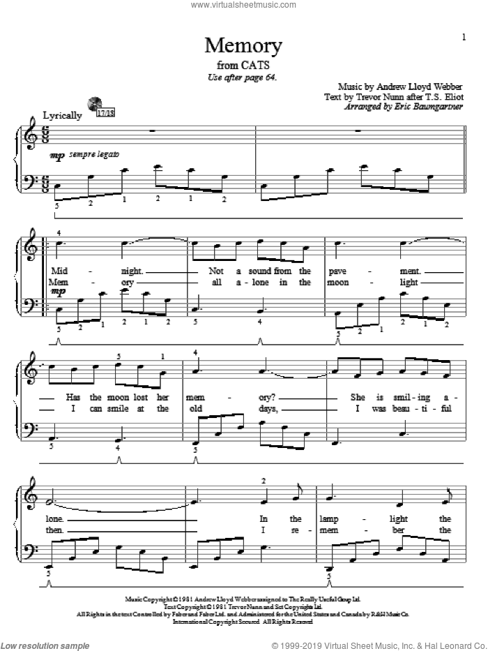 Memory sheet music for piano solo (elementary) by Trevor Nunn