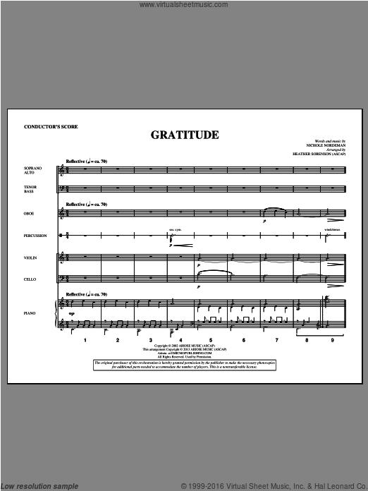 Gratitude (COMPLETE) sheet music for orchestra by Heather Sorenson and Nichole Nordeman. Score Image Preview.