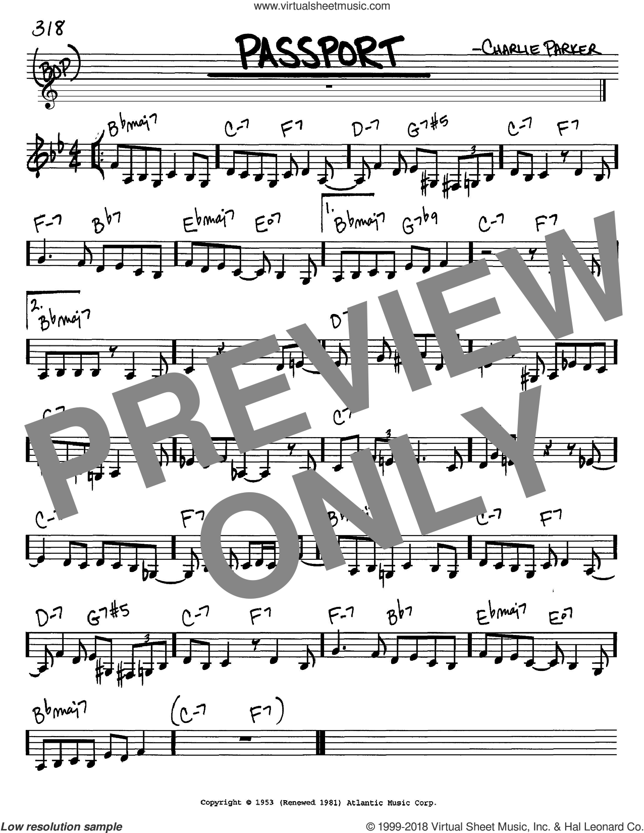 Passport sheet music for voice and other instruments (C) by Charlie Parker