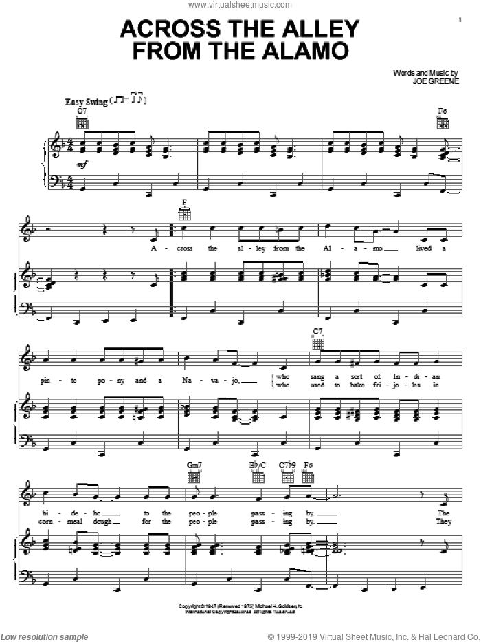 Across The Alley From The Alamo sheet music for voice, piano or guitar by Joe Greene, intermediate skill level
