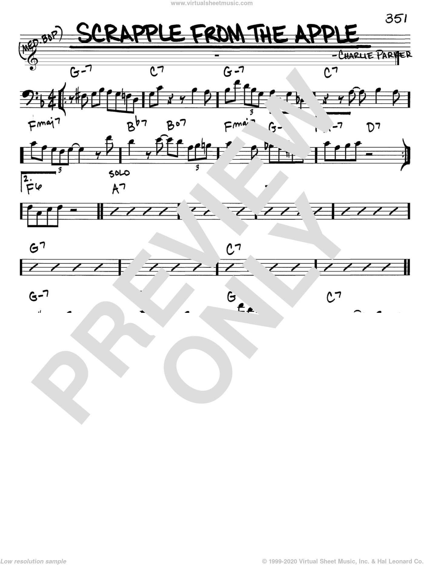 Scrapple From The Apple sheet music for voice and other instruments (bass clef) by Charlie Parker, intermediate. Score Image Preview.