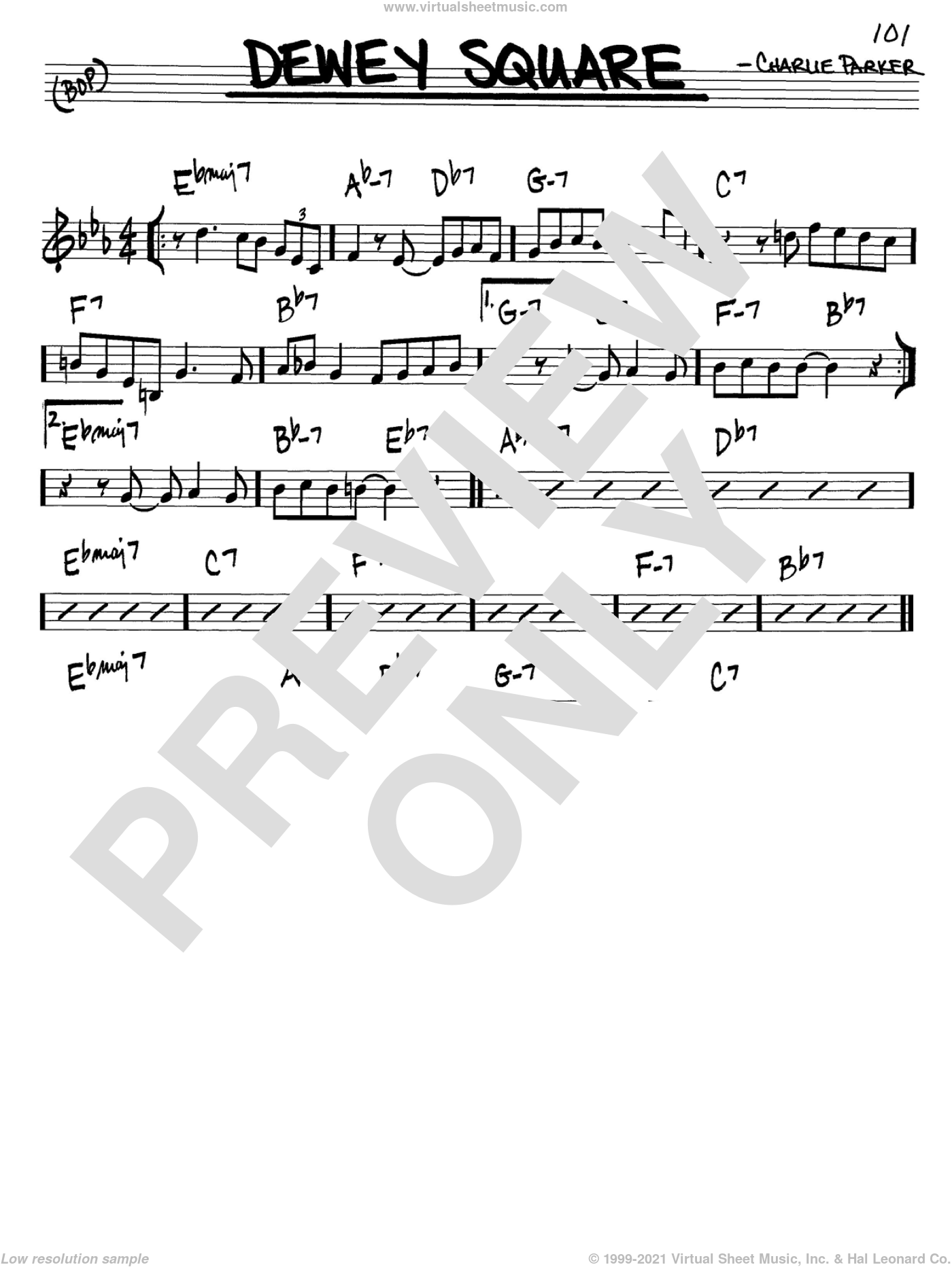Dewey Square sheet music for voice and other instruments (C) by Charlie Parker. Score Image Preview.
