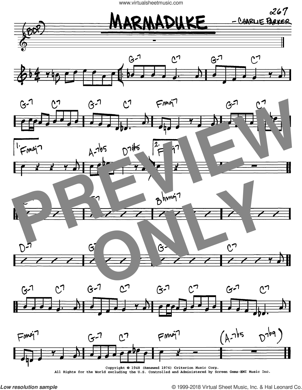 Marmaduke sheet music for voice and other instruments (C) by Charlie Parker. Score Image Preview.