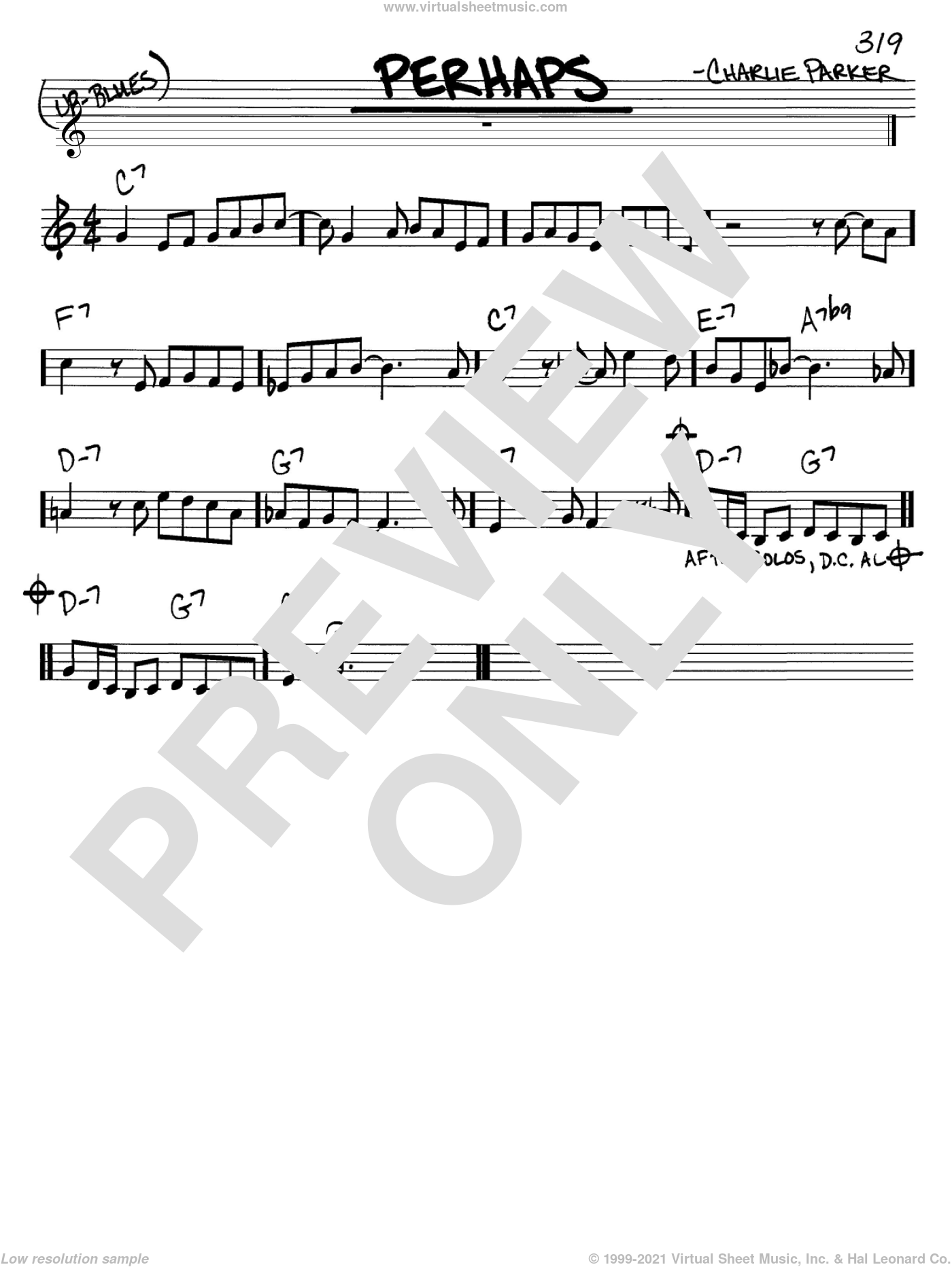Perhaps sheet music for voice and other instruments (C) by Charlie Parker