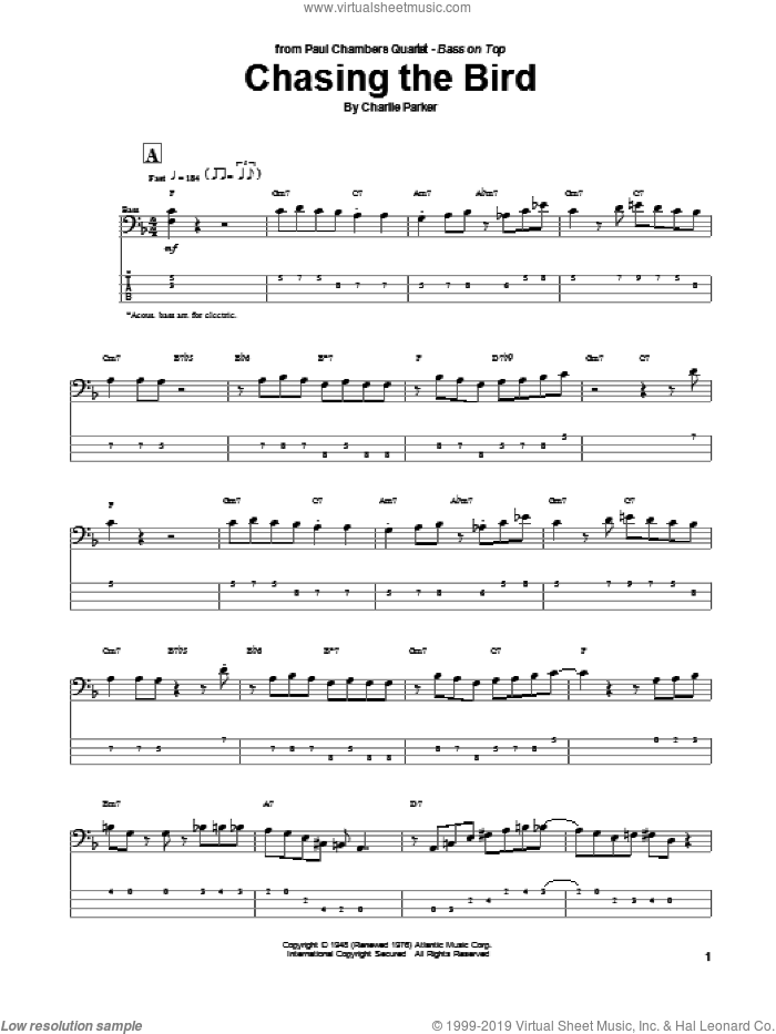 Chasing The Bird sheet music for bass (tablature) (bass guitar) by Charlie Parker