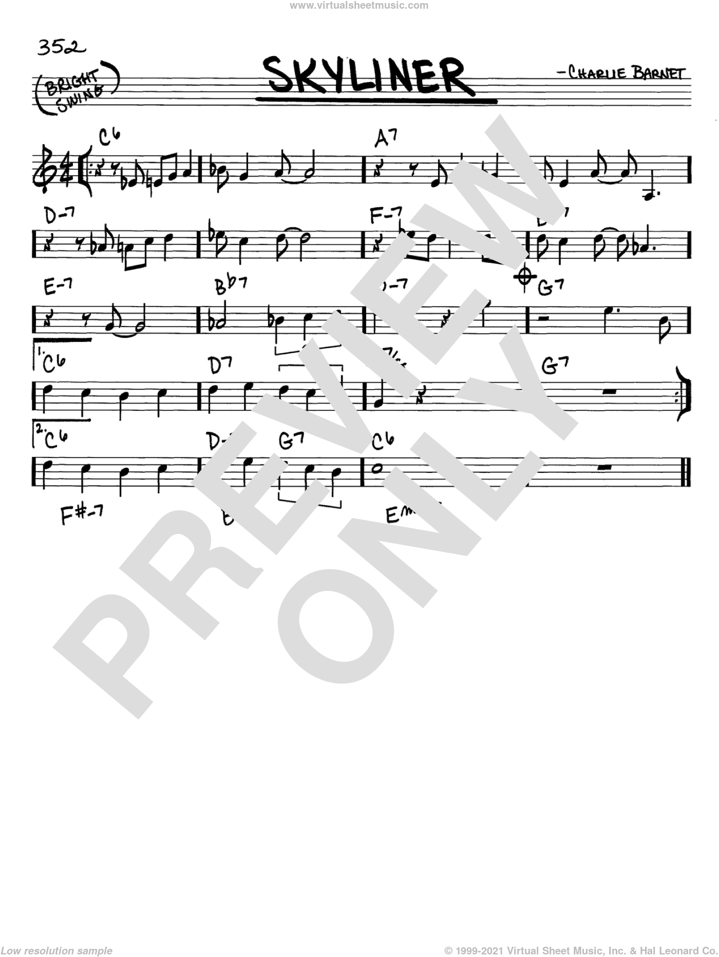 Skyliner sheet music for voice and other instruments (C) by Charlie Barnet. Score Image Preview.