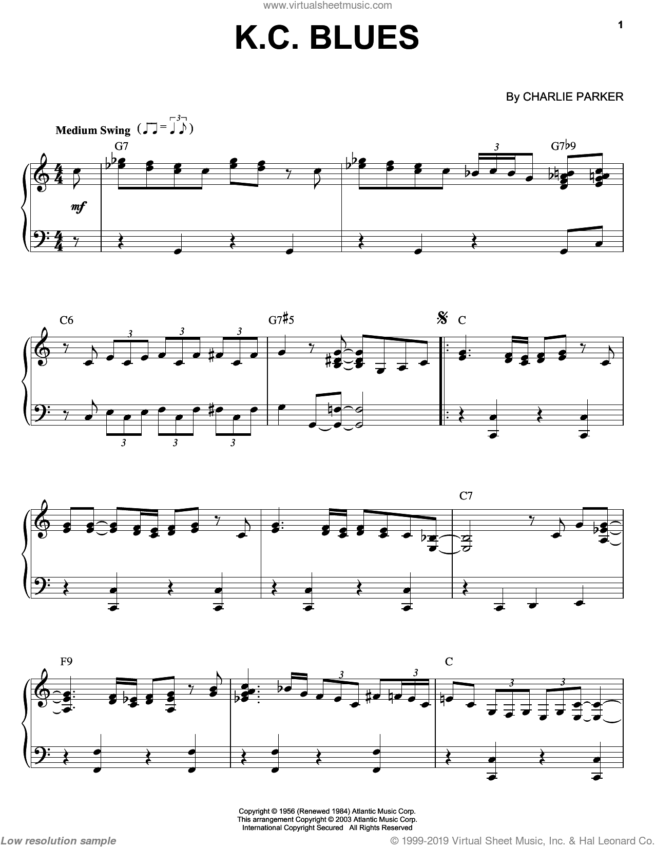 K.C. Blues sheet music for piano solo by Charlie Parker, intermediate piano. Score Image Preview.