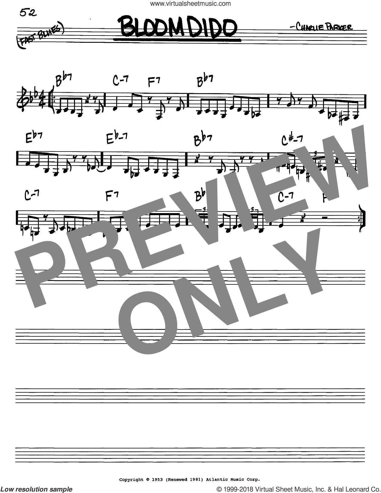 Bloomdido sheet music for voice and other instruments (C) by Charlie Parker. Score Image Preview.