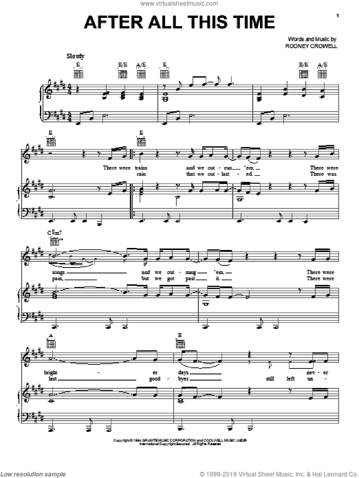 After All This Time sheet music for voice, piano or guitar by Rodney Crowell. Score Image Preview.