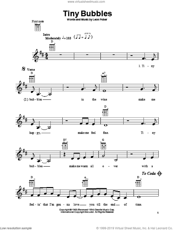 Tiny Bubbles sheet music for ukulele by Don Ho and Leon Pober, intermediate. Score Image Preview.