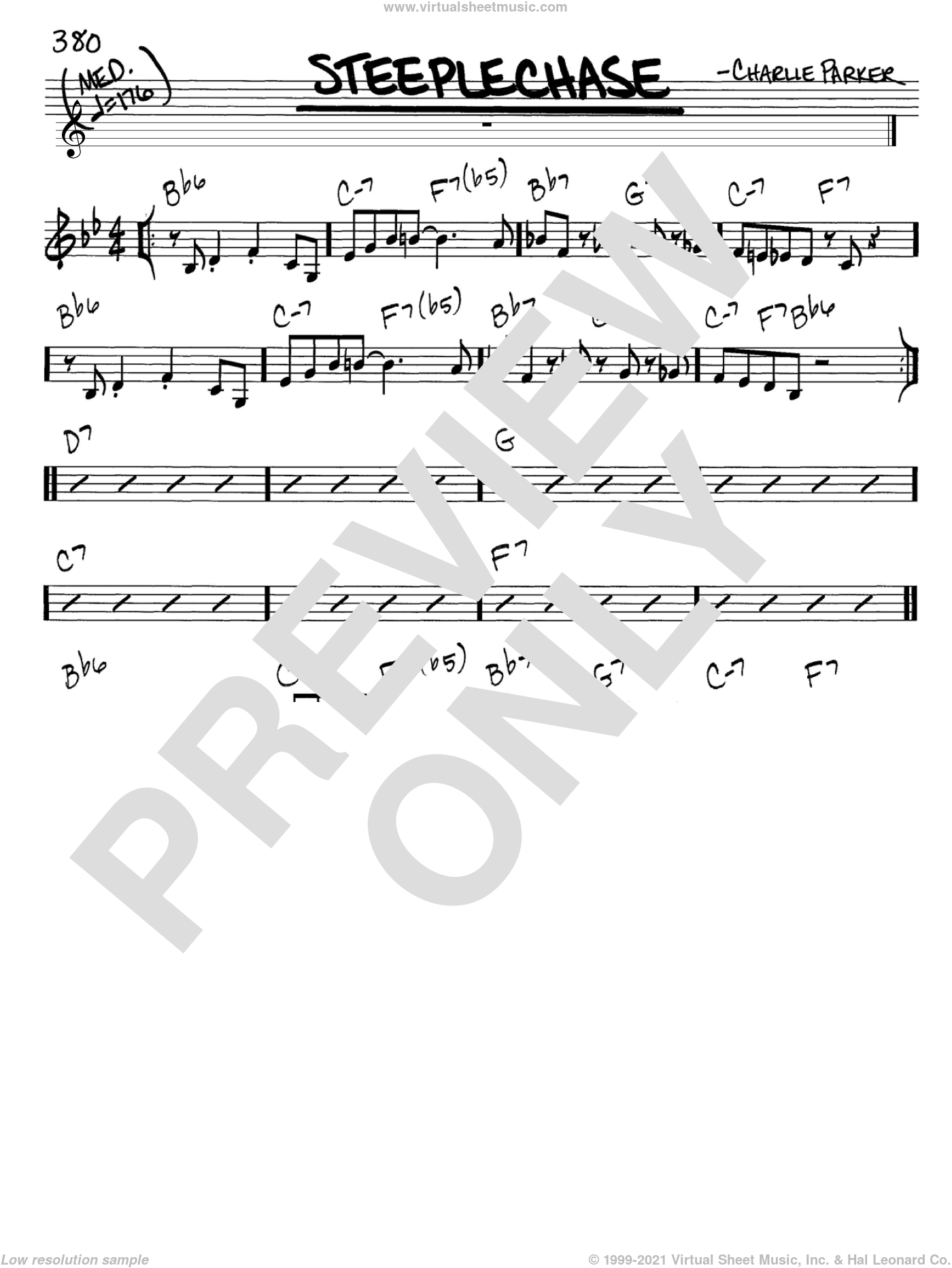 Steeplechase sheet music for voice and other instruments (C) by Charlie Parker. Score Image Preview.