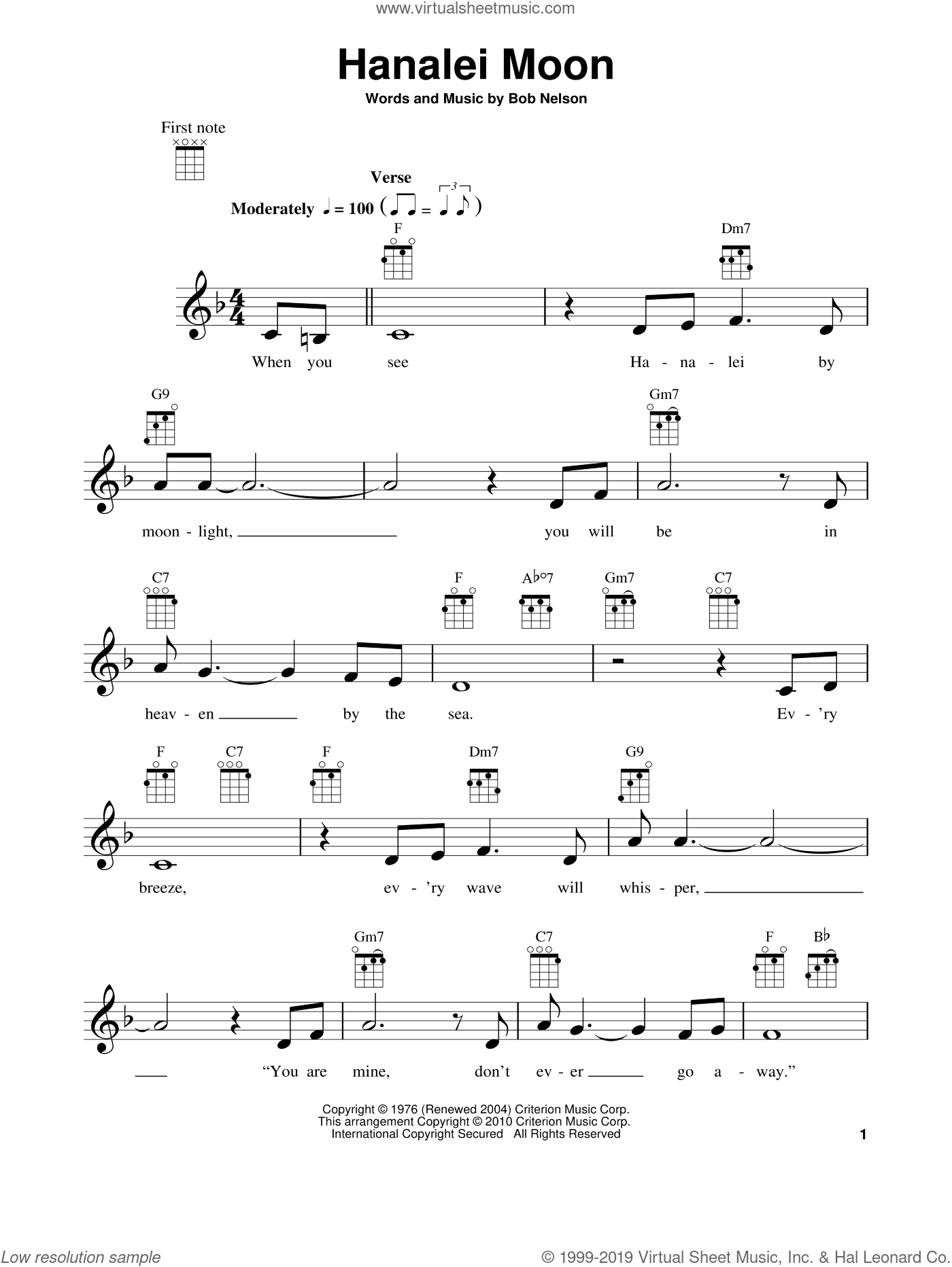 Hanalei Moon sheet music for ukulele by Bob Nelson. Score Image Preview.