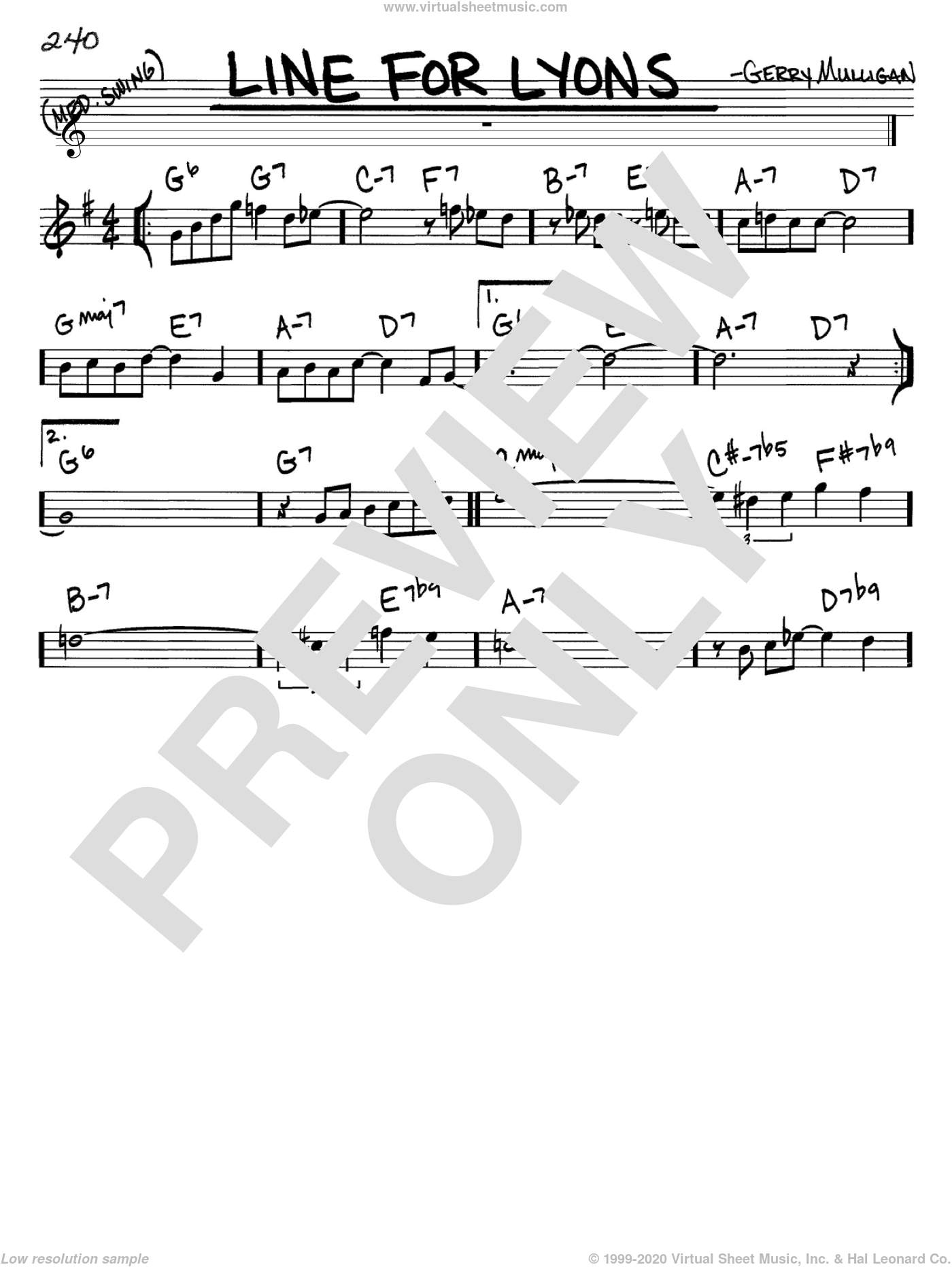 Line For Lyons sheet music for voice and other instruments (C) by Gerry Mulligan. Score Image Preview.