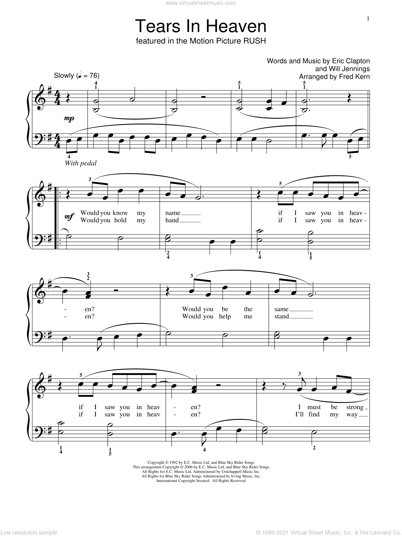 Tears In Heaven sheet music for piano solo (elementary) by Eric Clapton, Fred Kern and Miscellaneous, beginner piano (elementary). Score Image Preview.