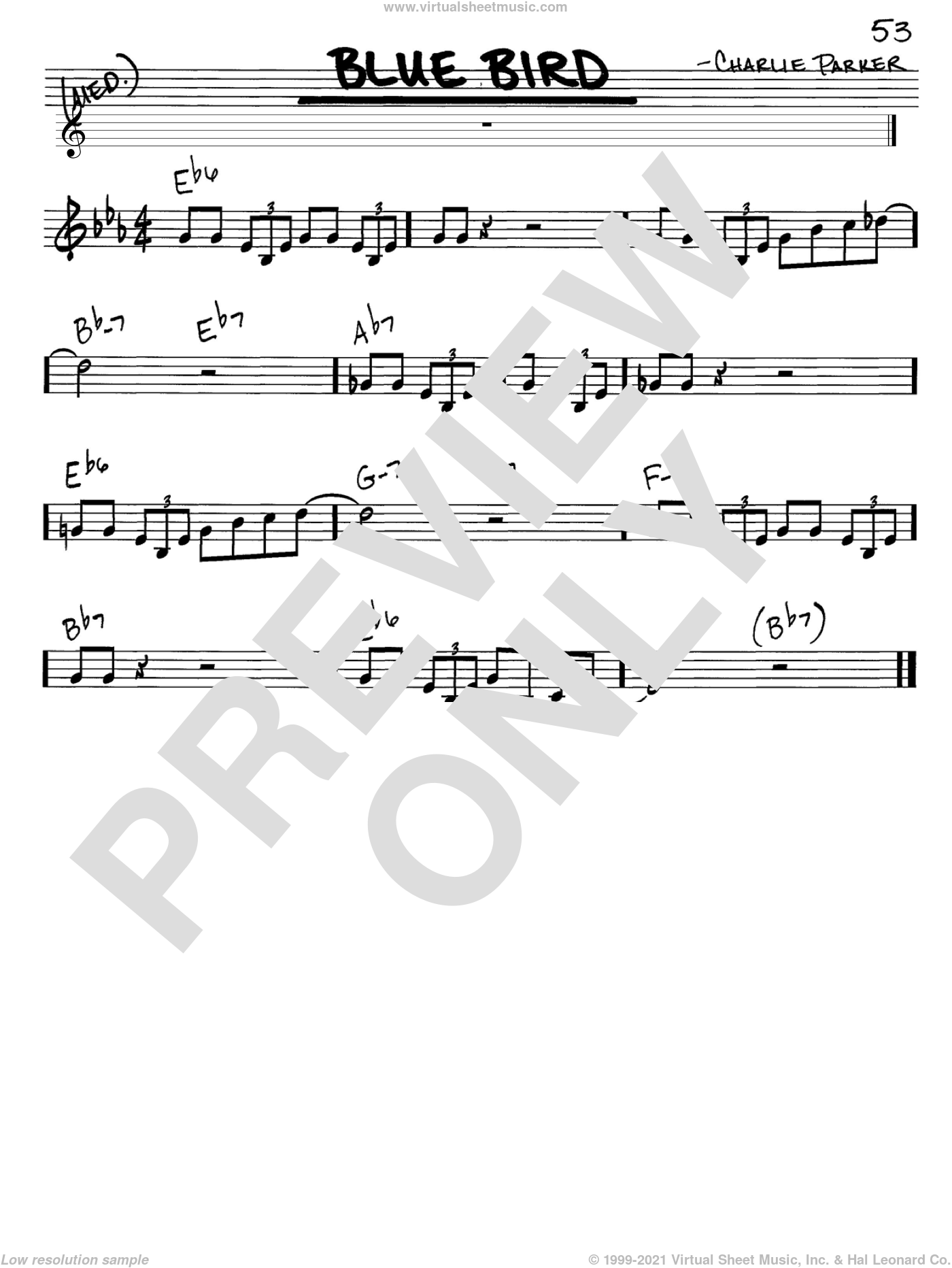 Blue Bird sheet music for voice and other instruments (C) by Charlie Parker. Score Image Preview.