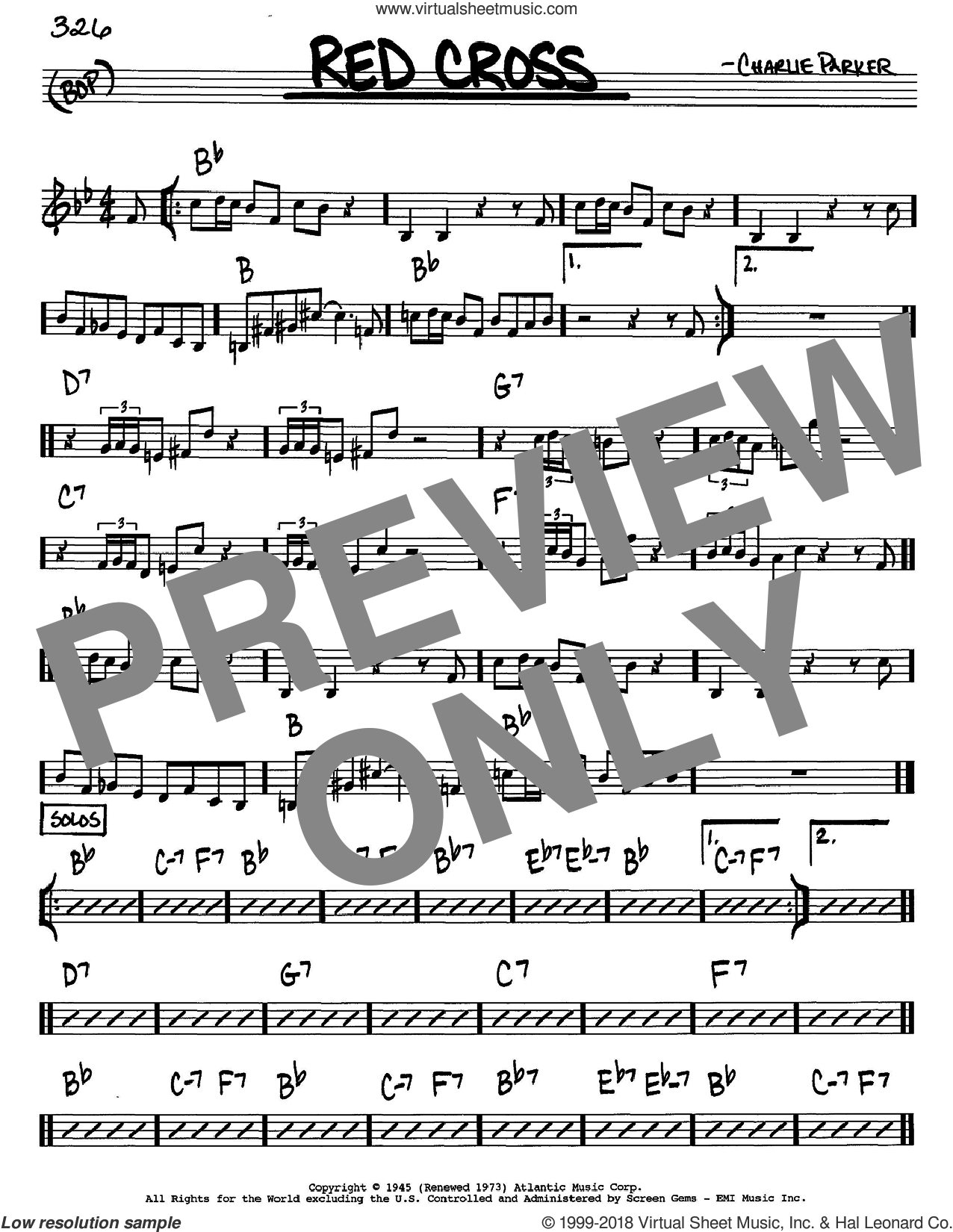 Red Cross sheet music for voice and other instruments (C) by Charlie Parker. Score Image Preview.