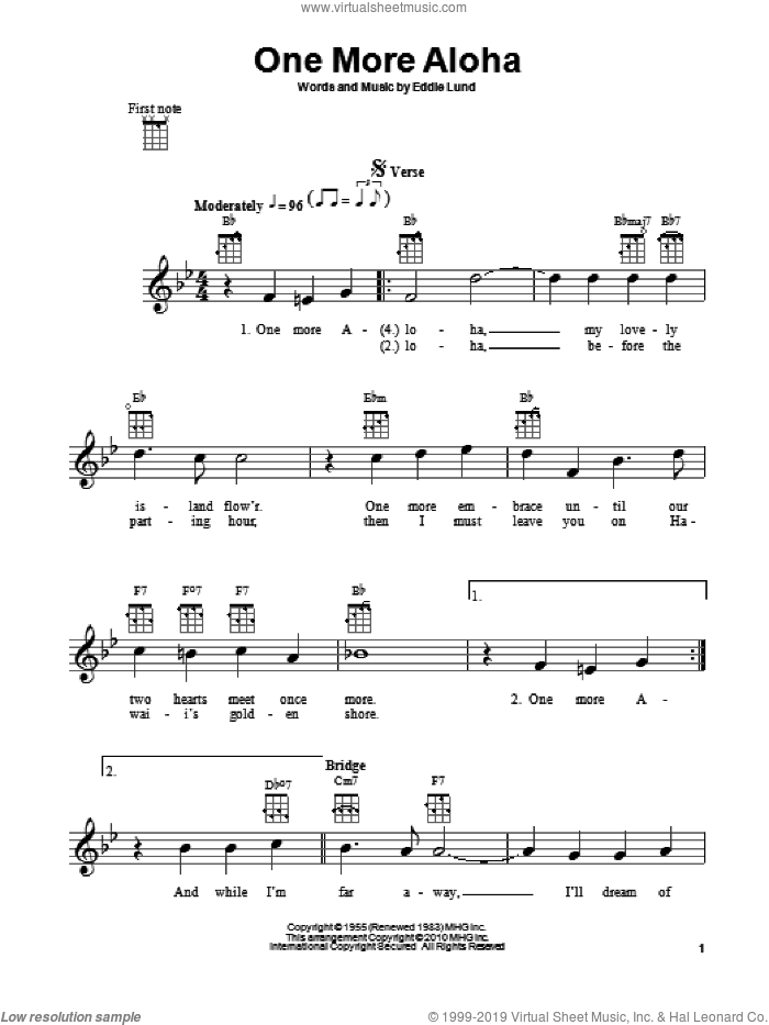 One More Aloha sheet music for ukulele by Eddie Lund. Score Image Preview.