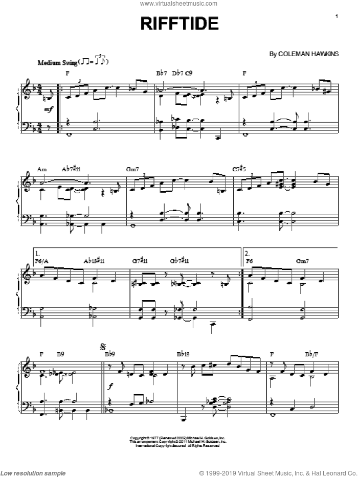 Rifftide sheet music for piano solo by Coleman Hawkins. Score Image Preview.