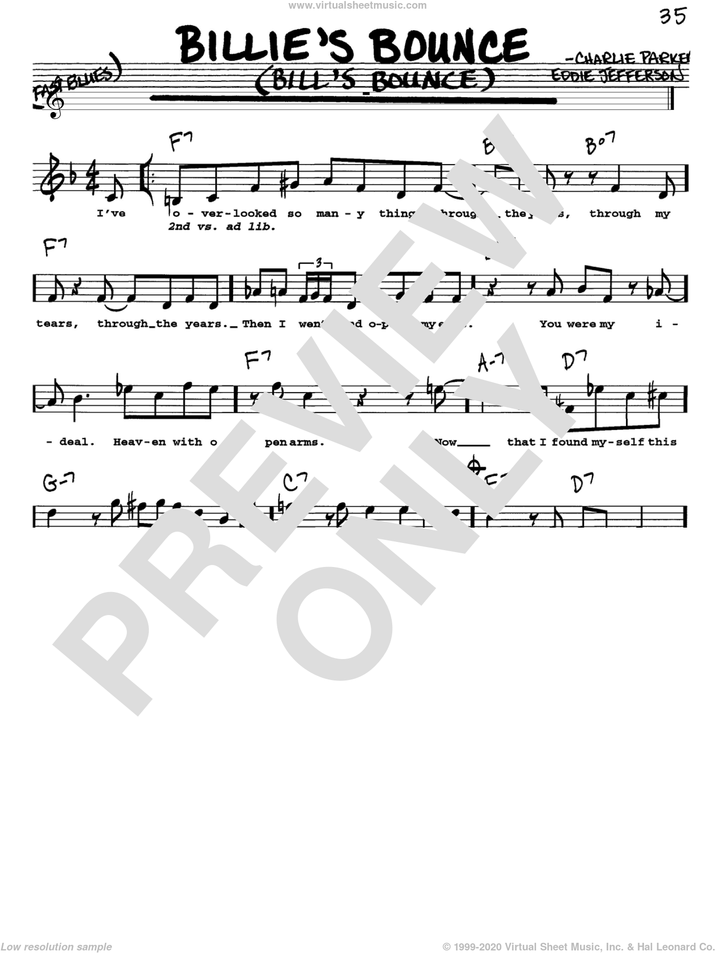 Billie's Bounce (Bill's Bounce) sheet music for voice and other instruments (Vocal Volume 1) by Charlie Parker. Score Image Preview.