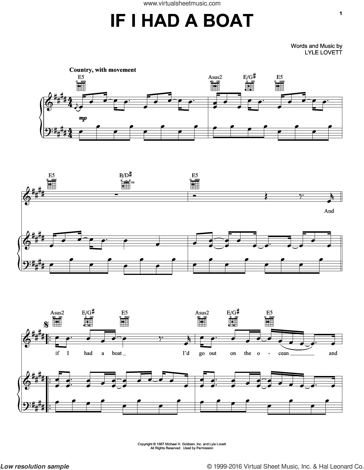 If I Had A Boat sheet music for voice, piano or guitar by Lyle Lovett, intermediate skill level