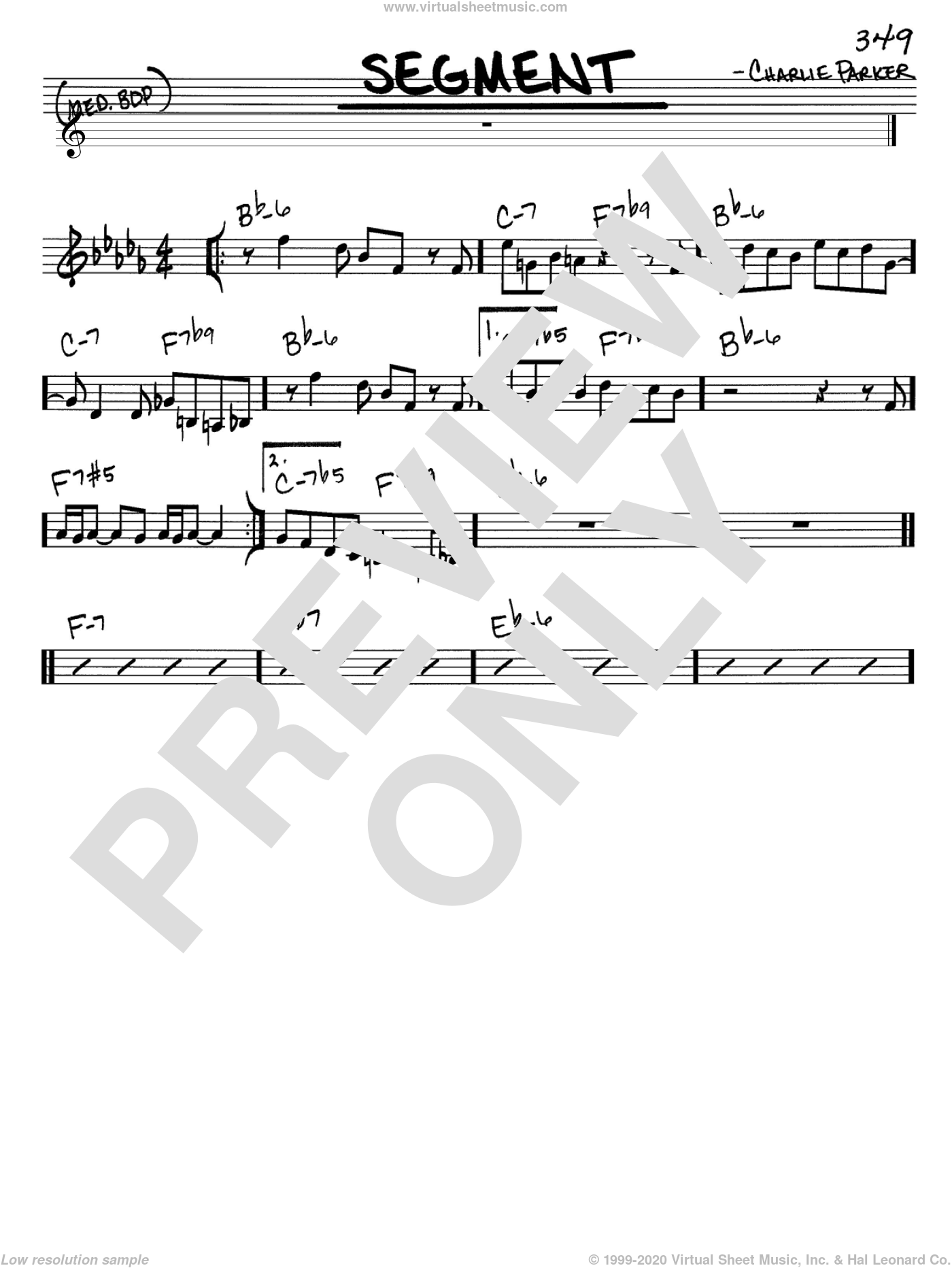 Segment sheet music for voice and other instruments (C) by Charlie Parker. Score Image Preview.