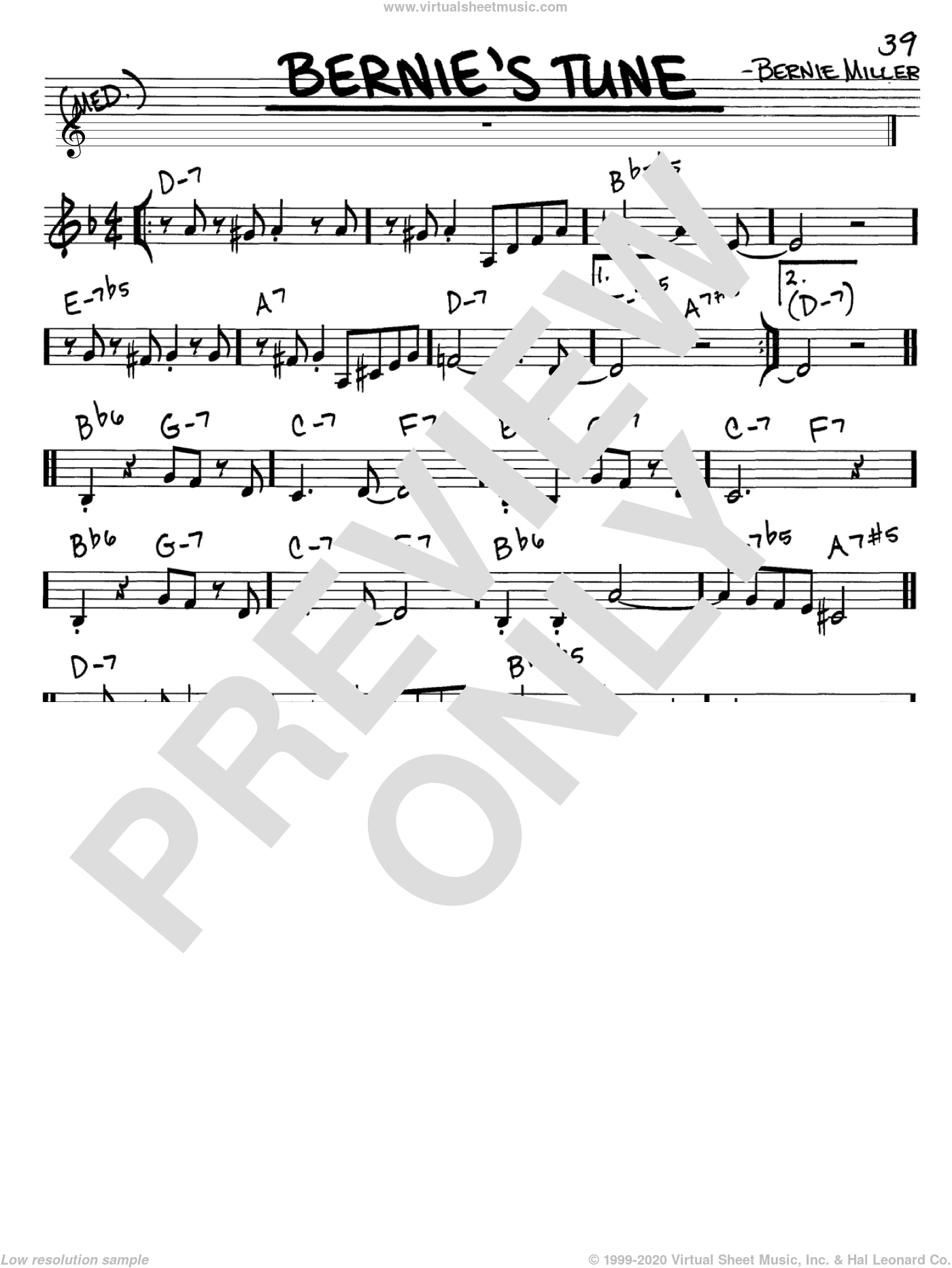 Bernie's Tune sheet music for voice and other instruments (C) by Jerry Lieber and Mike Stoller. Score Image Preview.