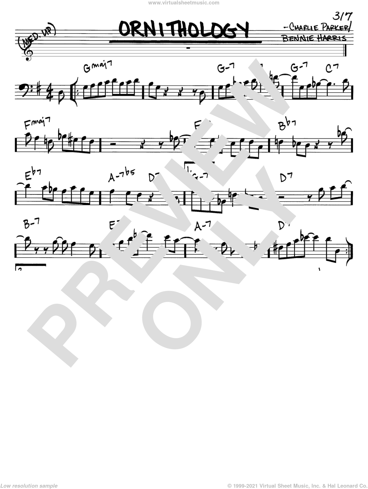 Ornithology sheet music for voice and other instruments (Bass Clef ) by Charlie Parker and Bennie Harris, intermediate voice. Score Image Preview.