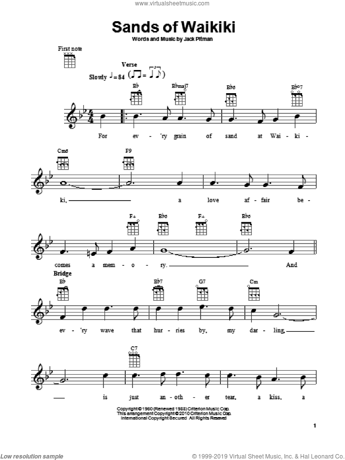 Sands Of Waikiki sheet music for ukulele by Jack Pitman. Score Image Preview.