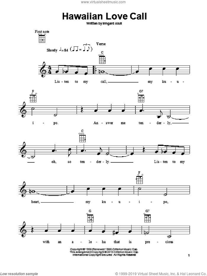 Hawaiian Love Call sheet music for ukulele by Irmgard Aluli