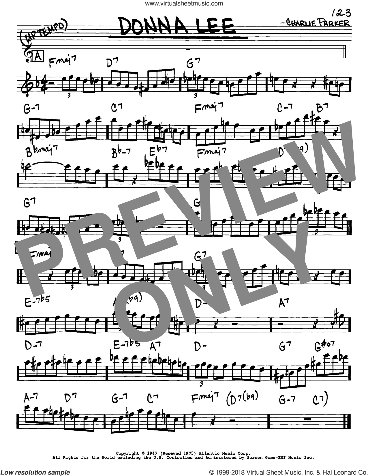 Donna Lee sheet music for voice and other instruments (Eb) by Charlie Parker, intermediate voice. Score Image Preview.