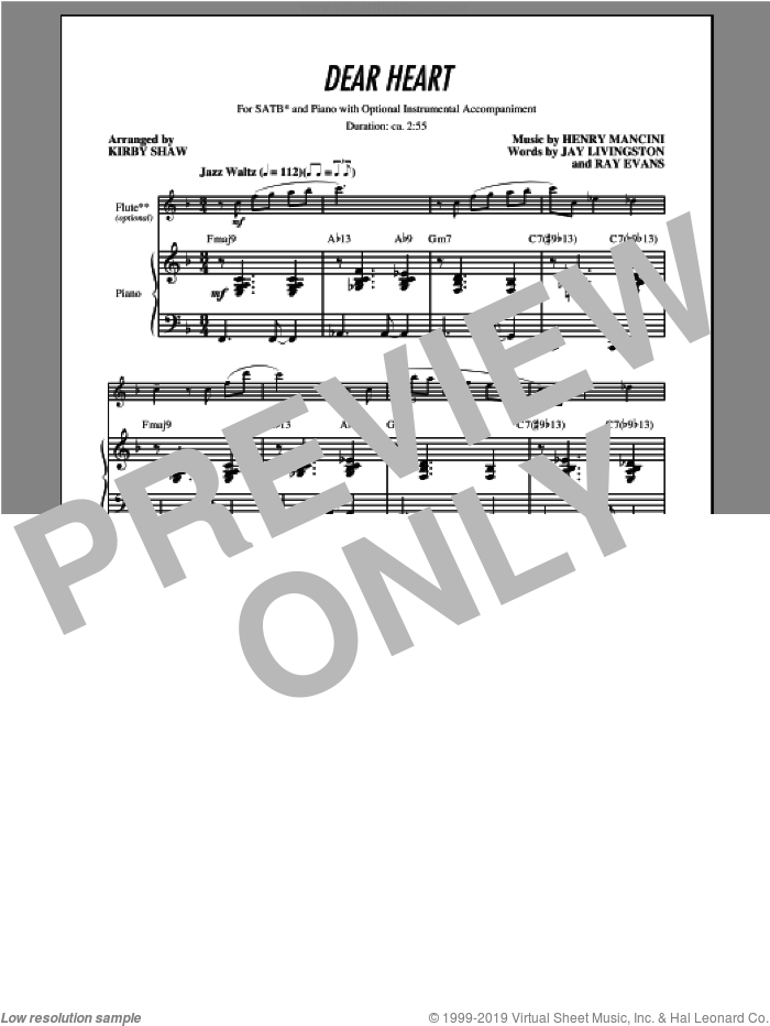 Dear Heart sheet music for choir (SATB) by Kirby Shaw and Henry Mancini. Score Image Preview.