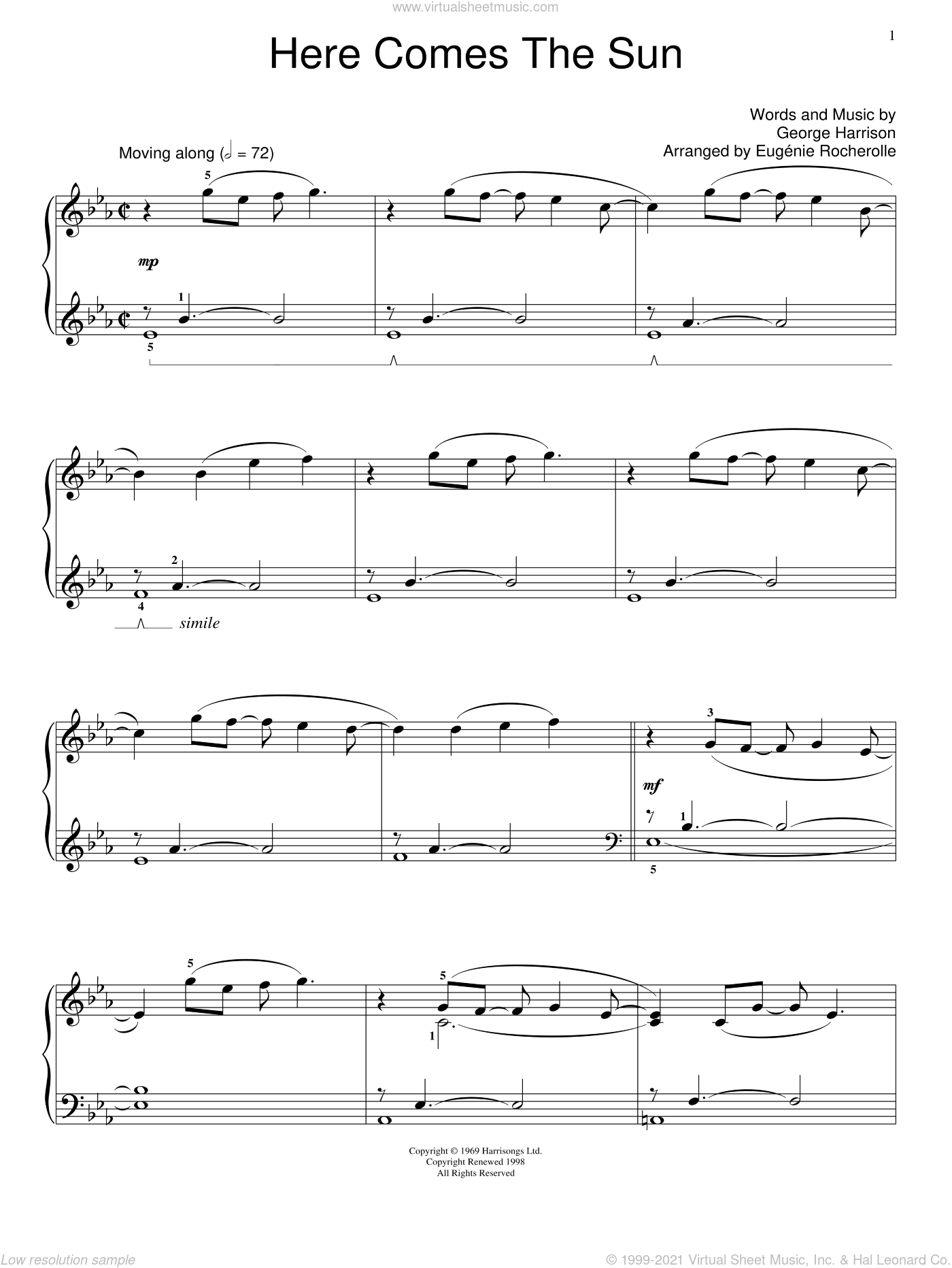 Here Comes The Sun sheet music for piano solo (elementary) by The Beatles, Miscellaneous and George Harrison, beginner piano (elementary)