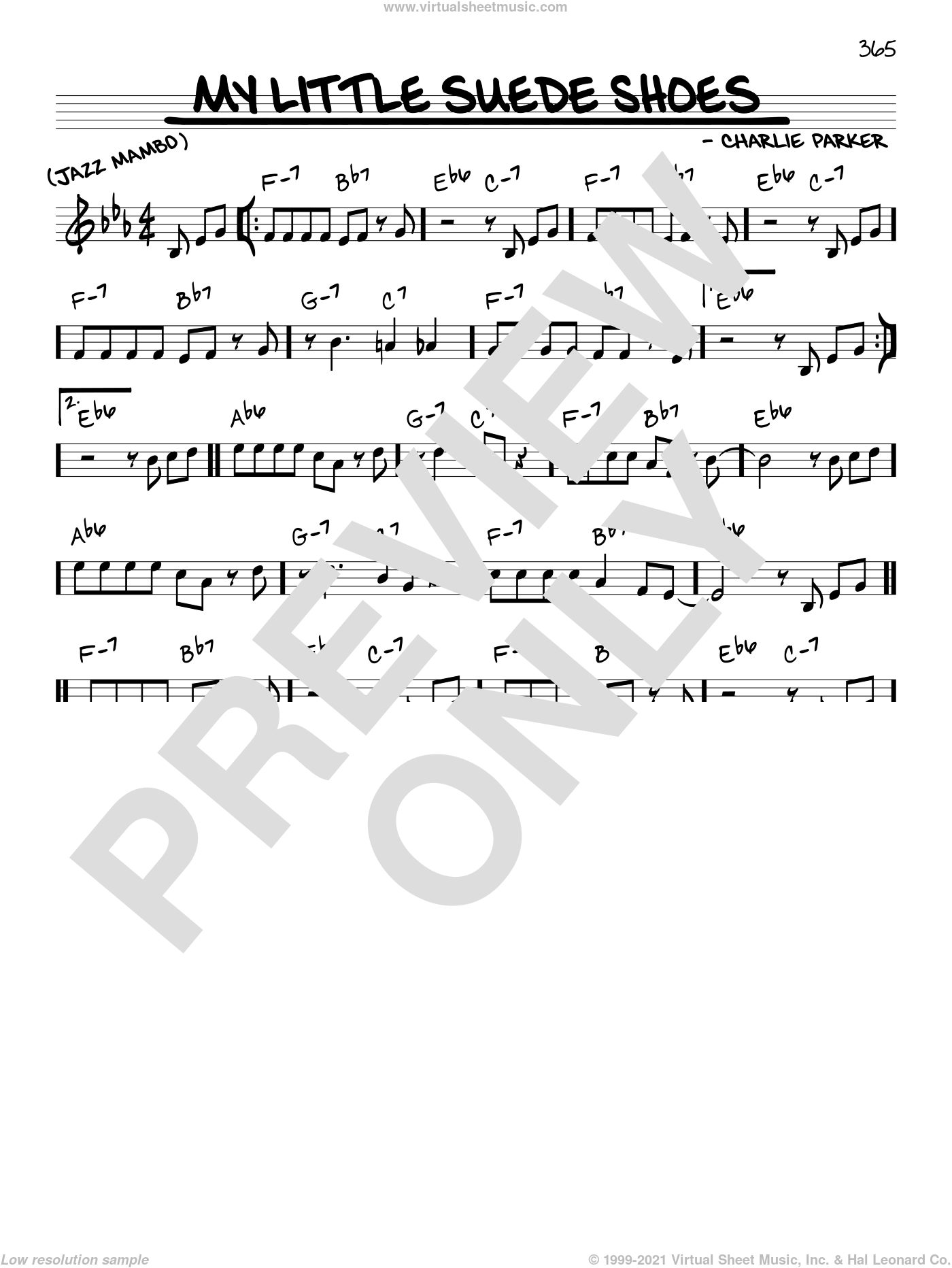 My Little Suede Shoes sheet music for voice and other instruments (C) by Charlie Parker
