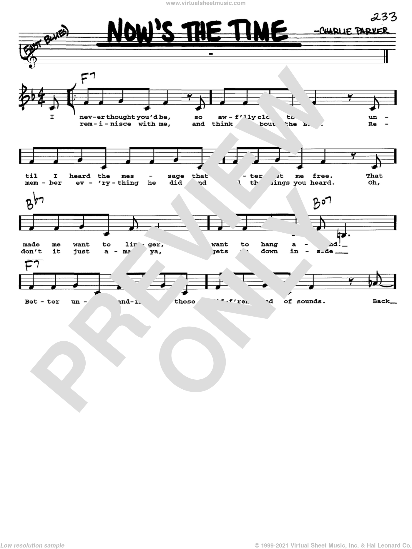 Now's The Time sheet music for voice and other instruments (Vocal Volume 1) by Charlie Parker. Score Image Preview.