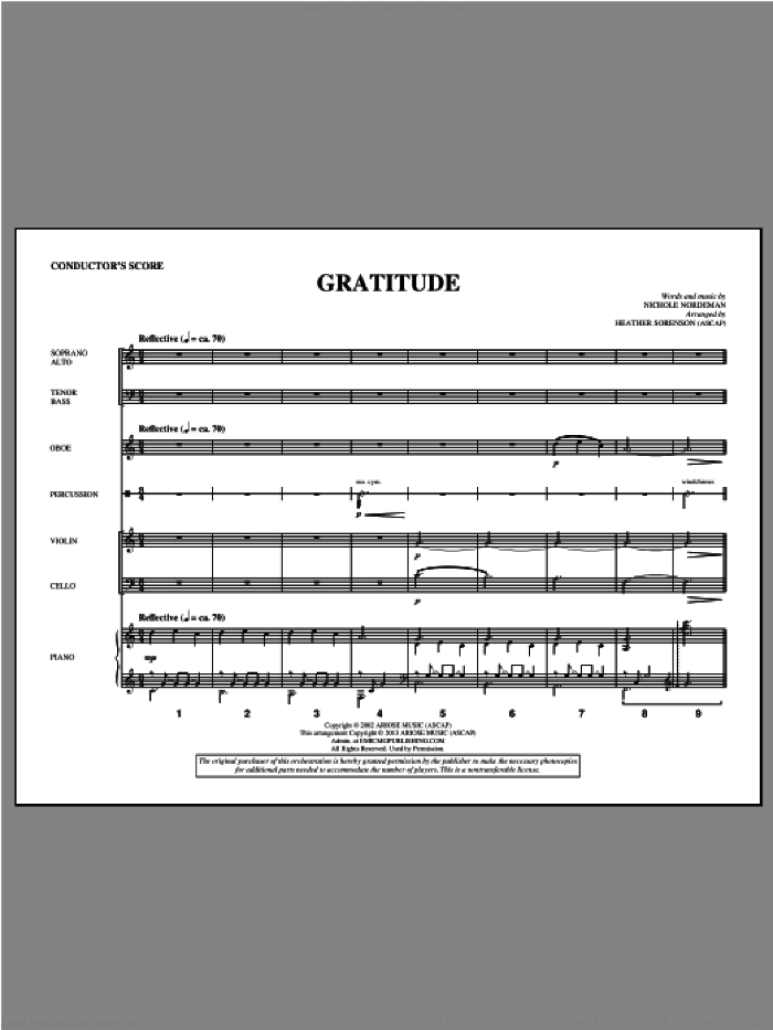Gratitude (COMPLETE) sheet music for orchestra/band by Heather Sorenson and Nichole Nordeman, intermediate. Score Image Preview.