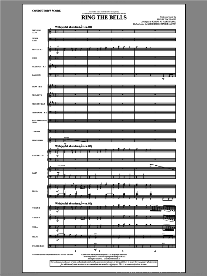 Ring the Bells sheet music for orchestra/band (score) by Harry Bollback and Joseph M. Martin. Score Image Preview.