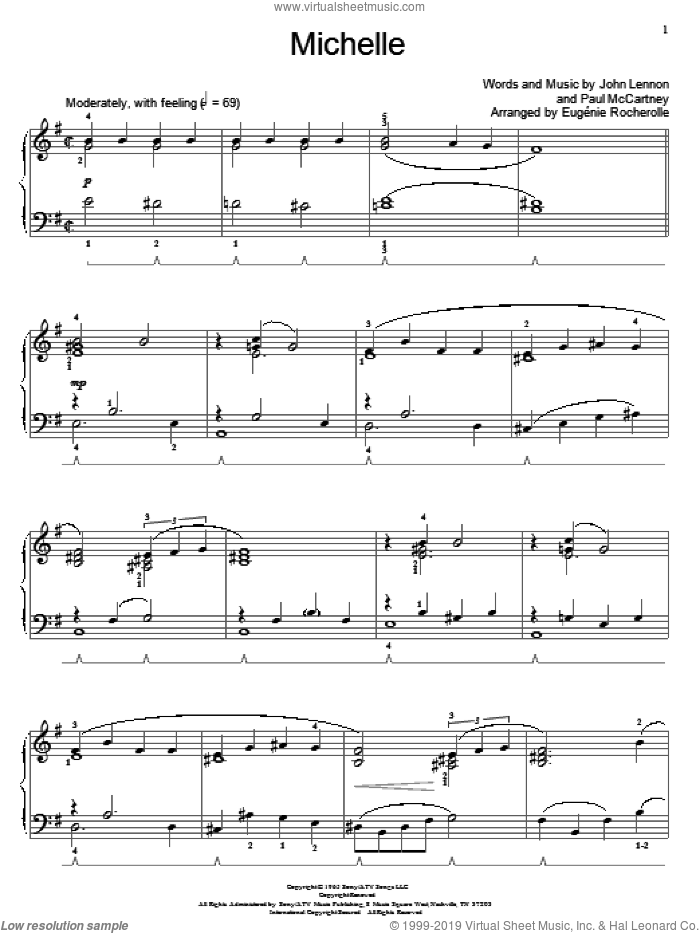 Michelle sheet music for piano solo (elementary) by The Beatles, Miscellaneous, John Lennon and Paul McCartney, beginner piano (elementary)