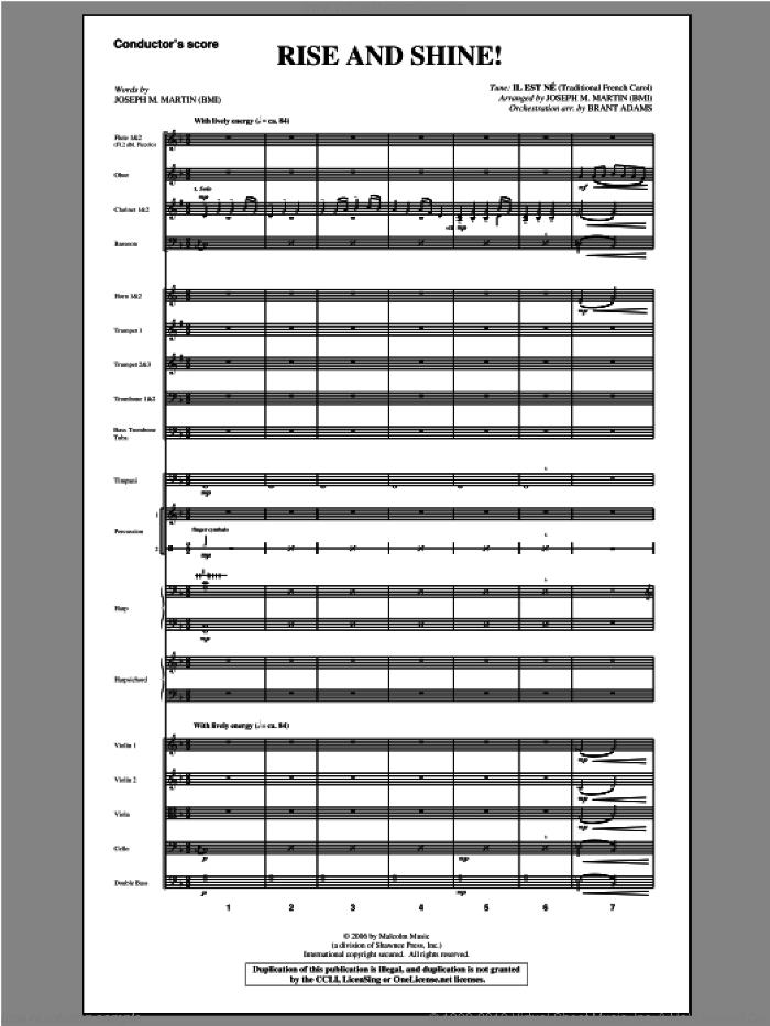 Rise And Shine! (from Ceremony Of Candles) sheet music for orchestra/band (score) by Joseph M. Martin