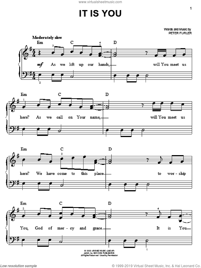 It Is You sheet music for piano solo by Newsboys and Peter Furler, easy skill level