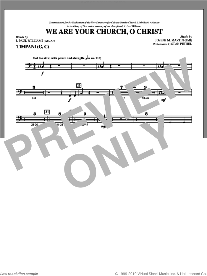 We Are Your Church, O Christ sheet music for orchestra/band (timpani) by Joseph M. Martin