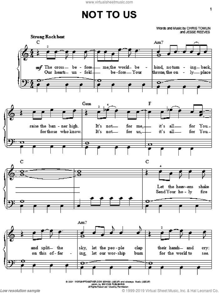 Not To Us sheet music for piano solo by Chris Tomlin and Jesse Reeves, easy skill level