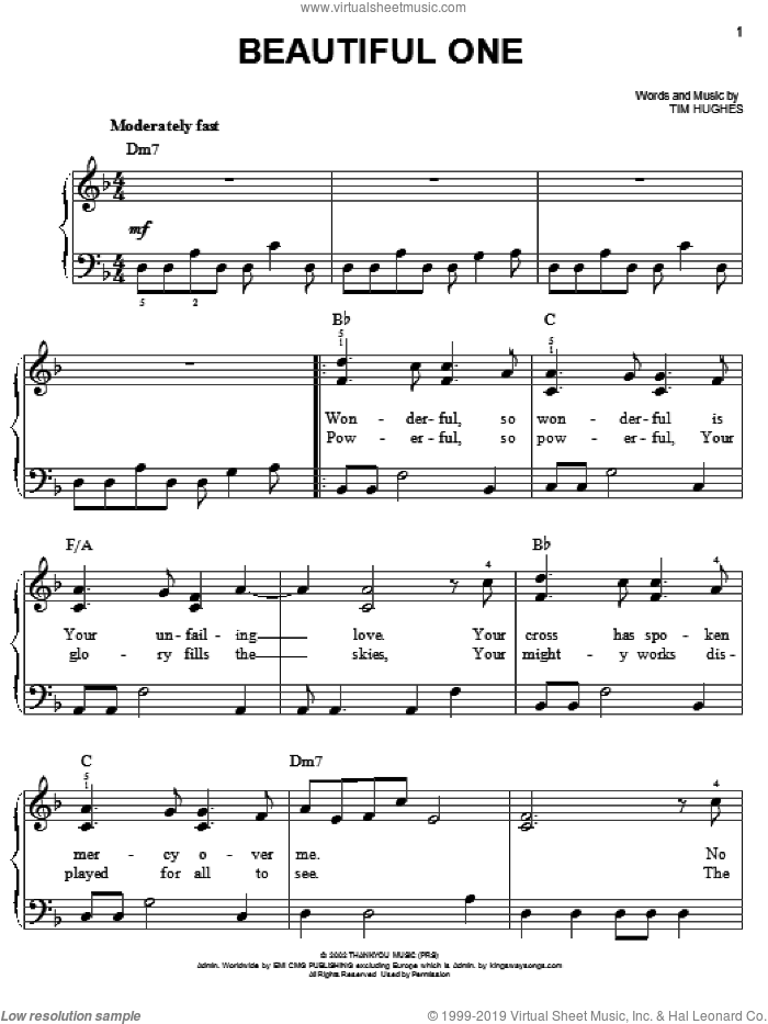 Beautiful One sheet music for piano solo by Jeremy Camp and Tim Hughes, easy skill level