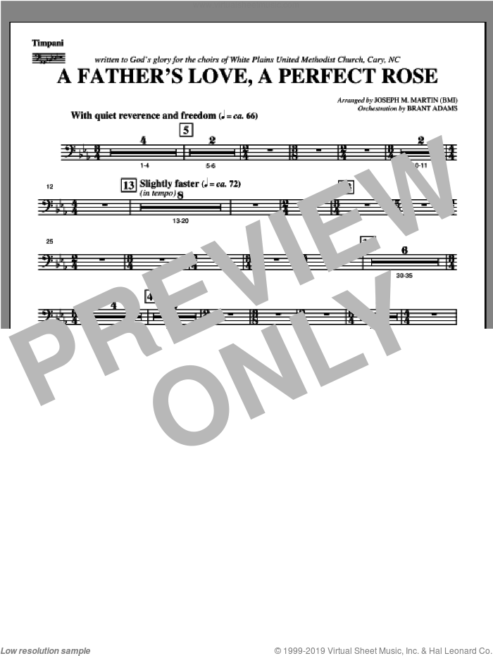 A Father's Love, A Perfect Rose (from Festival Of Carols) sheet music for orchestra/band (timpani) by Joseph M. Martin