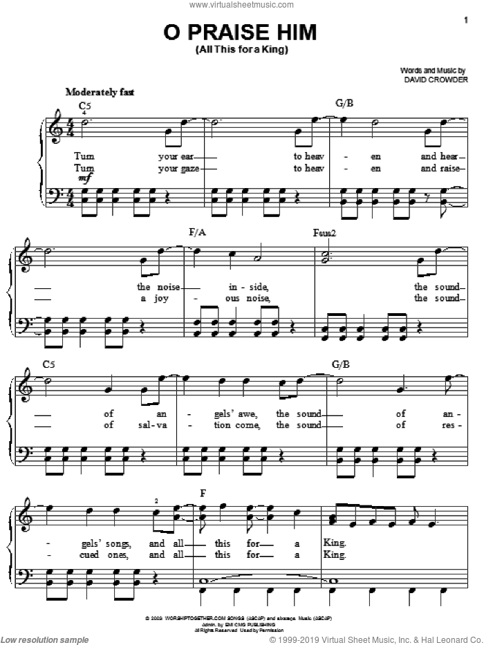 O Praise Him (All This For A King) sheet music for piano solo by David Crowder Band and David Crowder, easy skill level