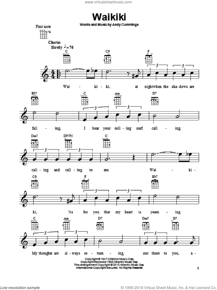 Waikiki sheet music for ukulele by Andy Cummings, intermediate skill level
