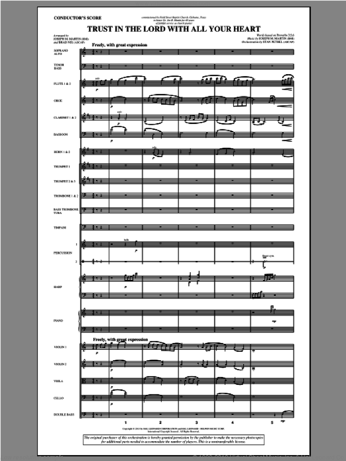 Trust In The Lord With All Your Heart (COMPLETE) sheet music for orchestra/band by Joseph M. Martin and Brad Nix, intermediate. Score Image Preview.